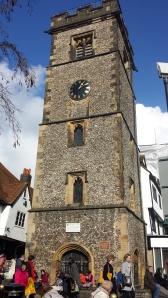 Klocktornet från tidigt 1400-tal är Englands enda kvarvarande från Medeltiden.