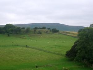 Utsikt från slottet bort mot Coverdale och de höga hedarna.