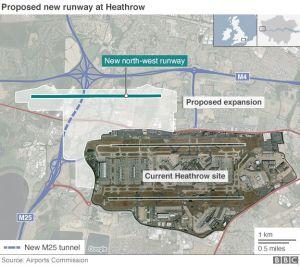 Den föreslagna platsen för Heathrows R3.  Grafik: The AIrports Commission